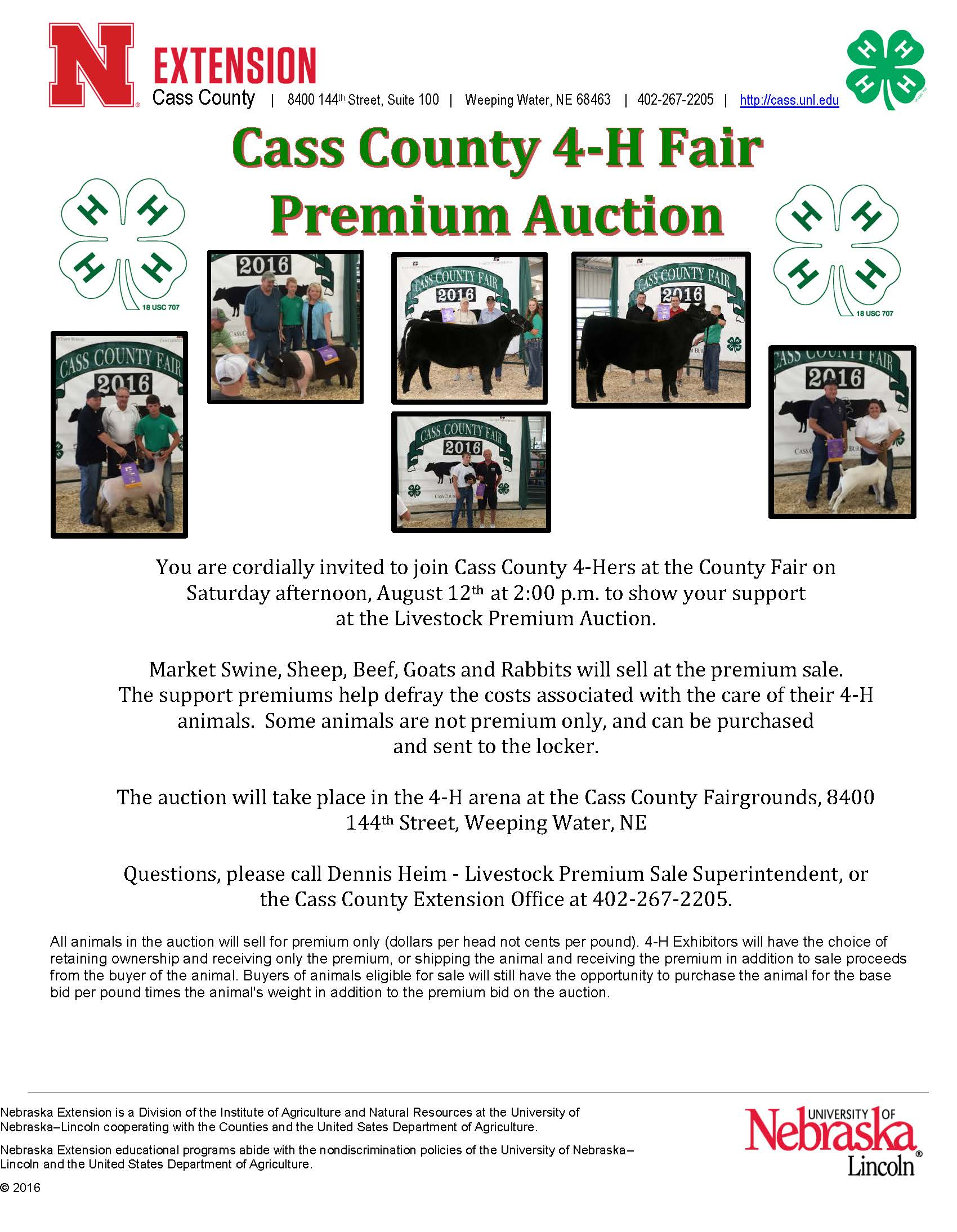 Livestock Auction flyer for 20171470